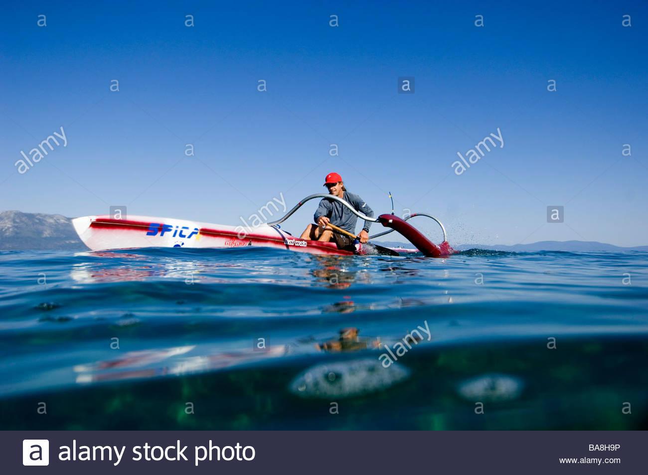 Outrigger Paddling on Lake Tahoe, California - Stock Image