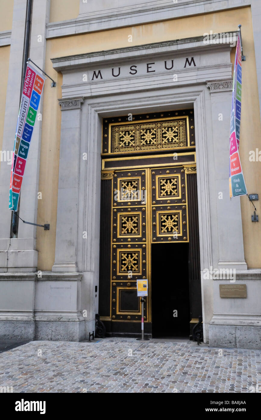 Entrance to Museum of Ethnology (Museum der Kulturen at Munsterplatz) in Basel - Stock Image