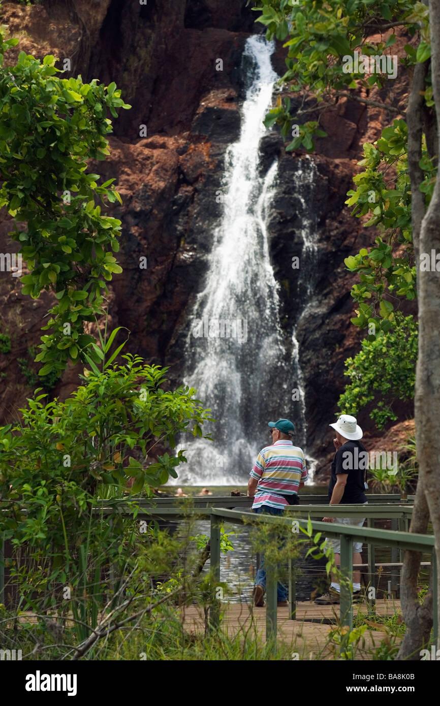Tourists at Wangi Falls in Litchfield National Park Northern Territory AUSTRALIA - Stock Image