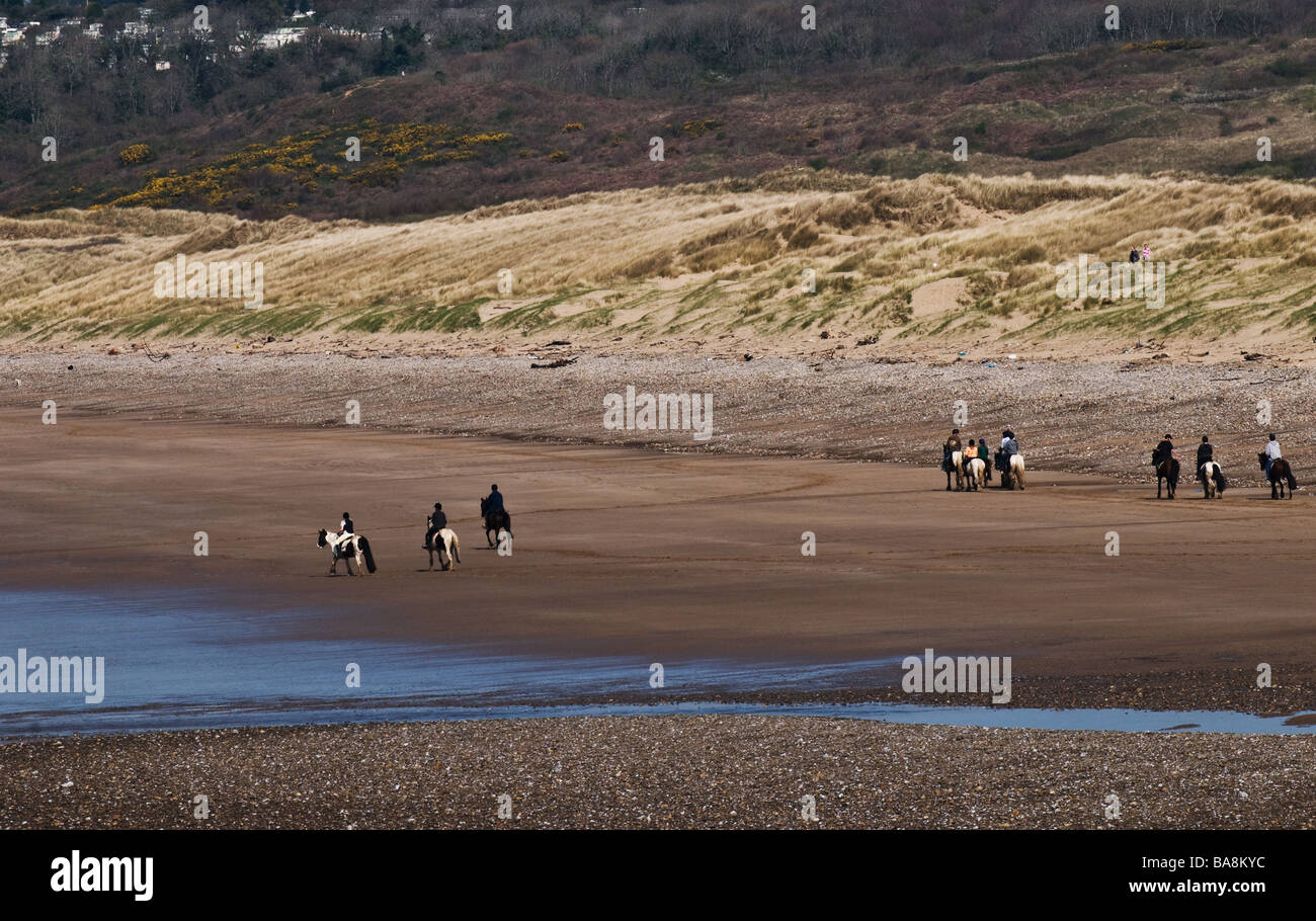 Horses being ridden on the beach at Ogmore in Wales.  Photo by Gordon Scammell - Stock Image