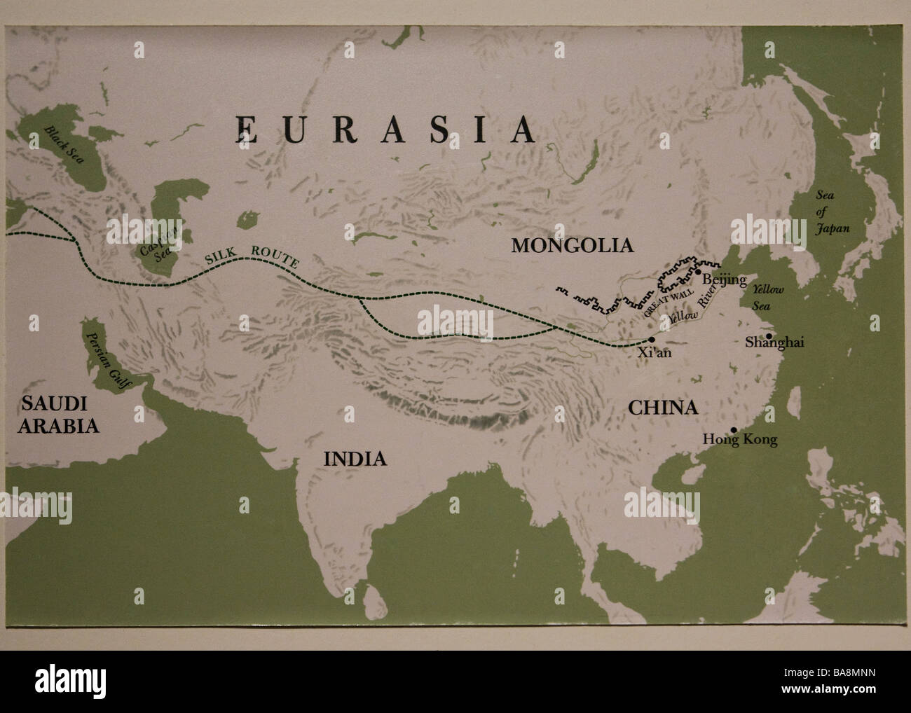 Map of Silk Route - Stock Image