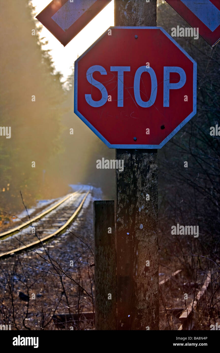Sun behind a railway crossing sign and a stop sign with light fog hovering above the lightly snow covered railway - Stock Image