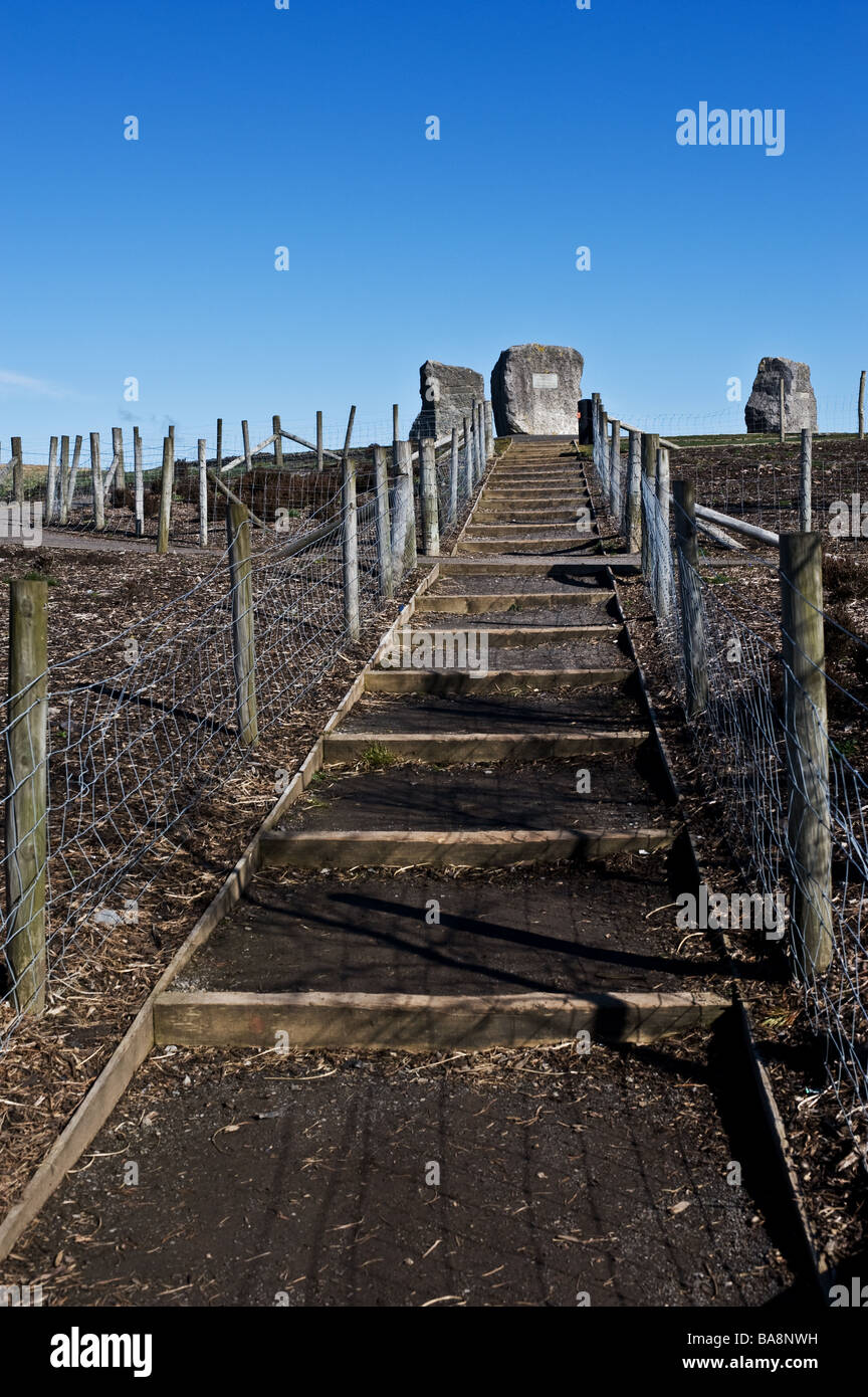 The path leading to the Aneurin Bevan Stones near Tredegar in Wales.  Photo by Gordon Scammell - Stock Image