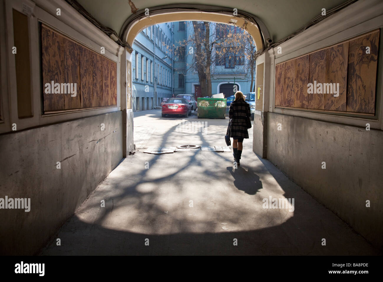 Gate leading to Mikhail Bulgakov house. Mikhail Bulgakov is a Russian writer, author of ' Master and Margarita', - Stock Image