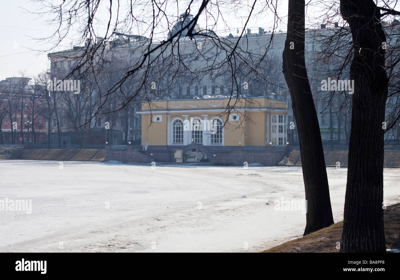 Patriarshy Prudiy, Patriarch's Pond where Mikhail Bulgakov book ' Master and Margarita' begins. Moscow - Stock Image