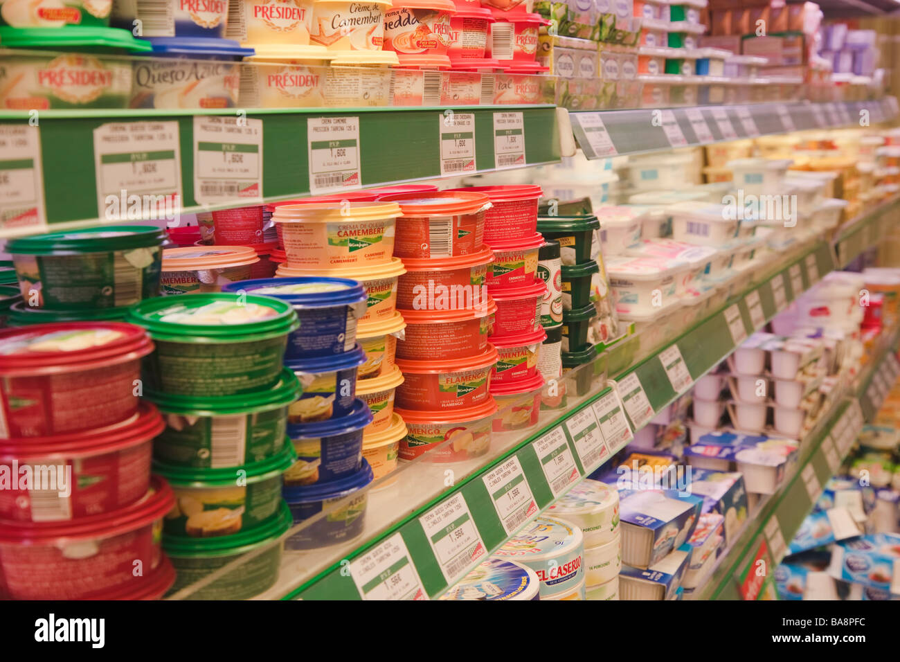 Dairy products in a SuperCor supermarket outlet of El Corte Ingles Spain - Stock Image
