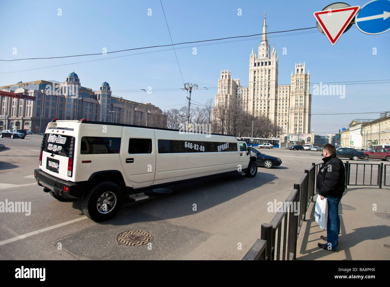 Hummer limo on Moscow street, Russia. - Stock Image