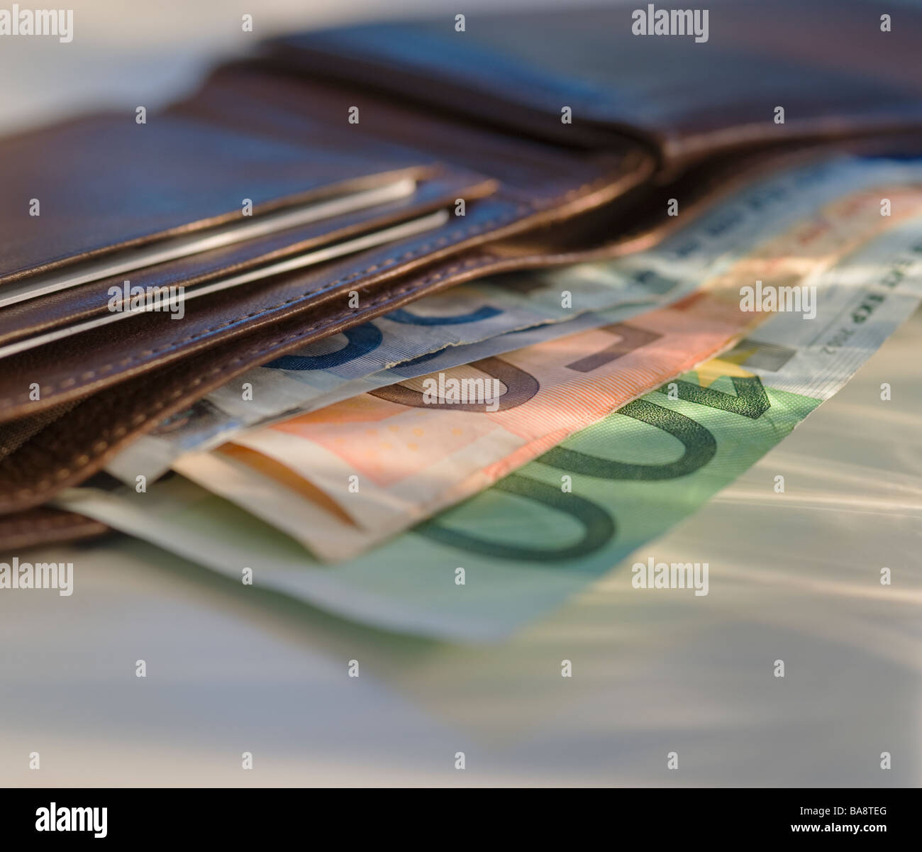 Euro notes in wallet - Stock Image