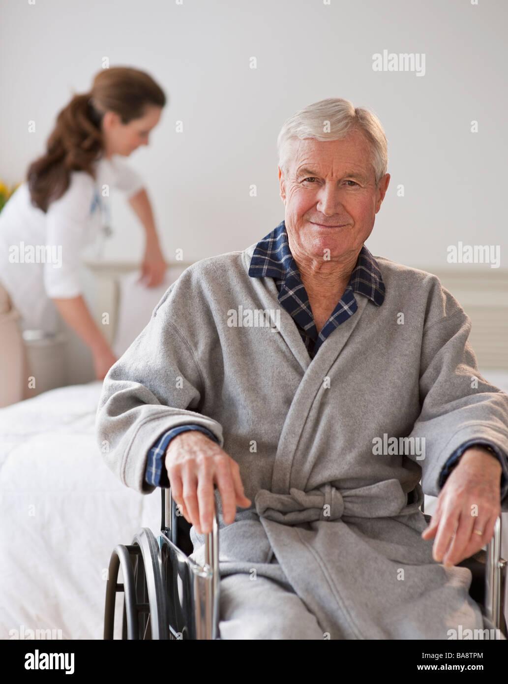 Senior man in wheel chair - Stock Image