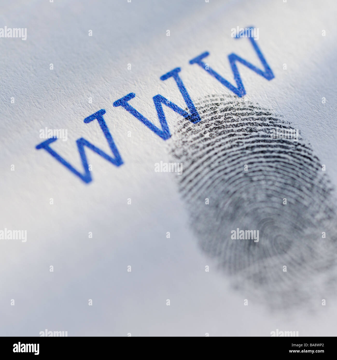 Fingerprint and world wide web acronym - Stock Image