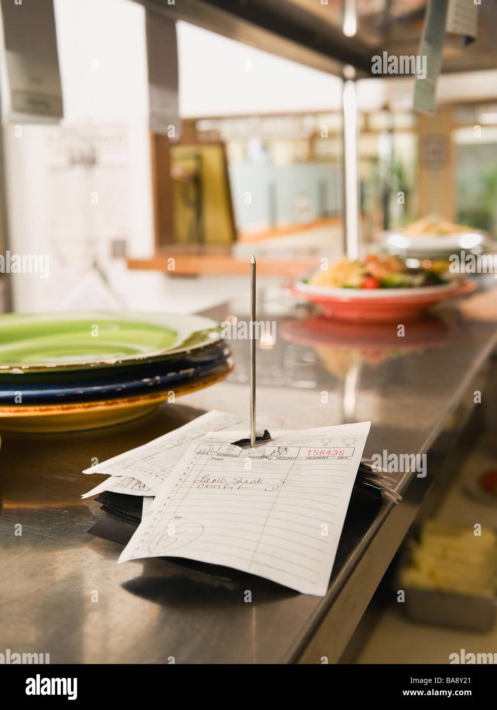 Food order spike in restaurant kitchen Stock Photo