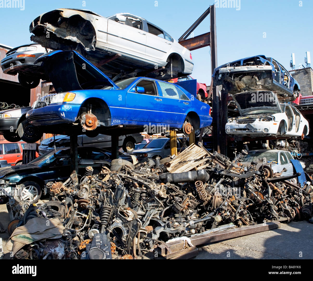 Stacked Cars In The Junk Yard Cars And Garages T Cars