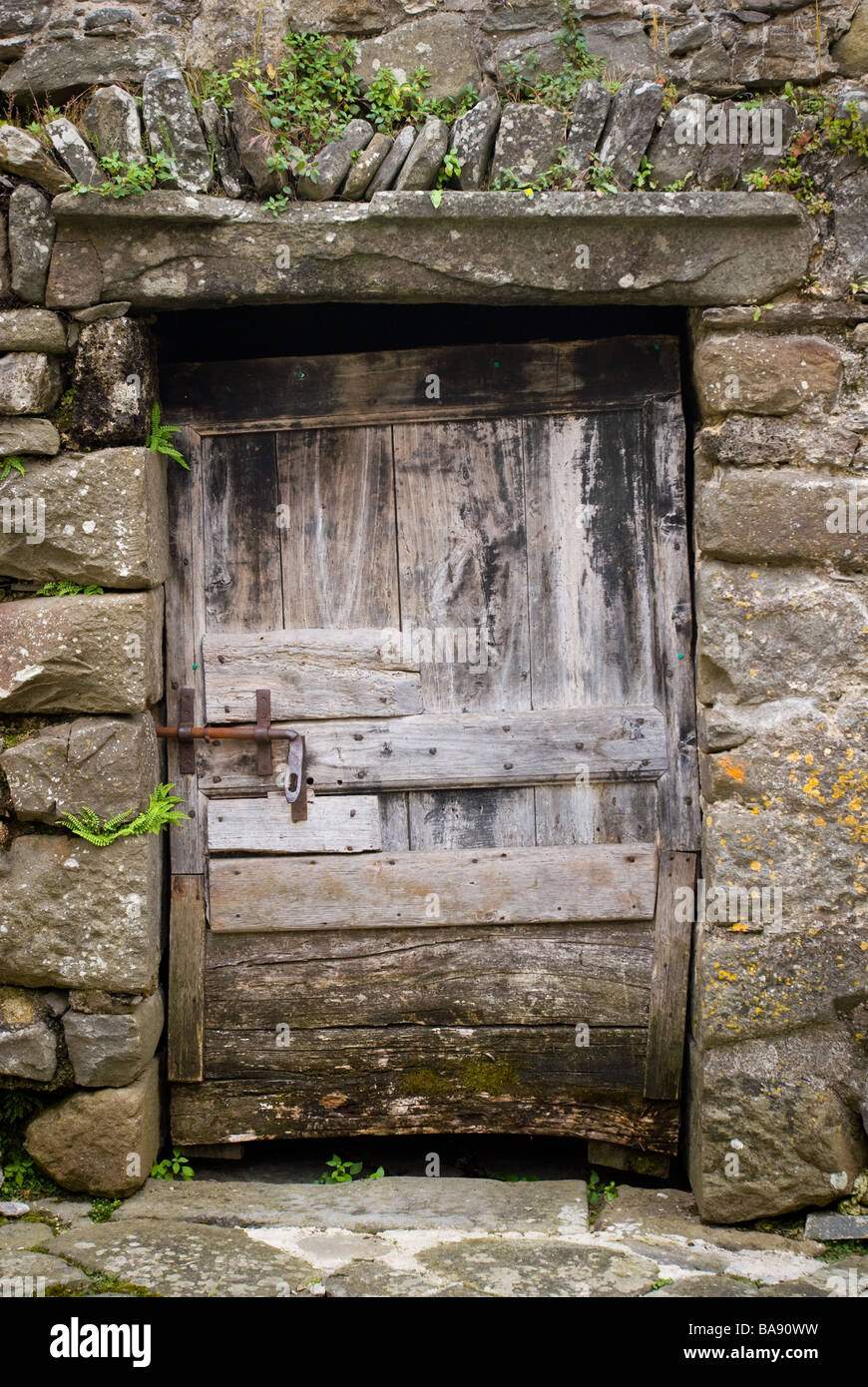 photography ancient wooden door with rusted bolt - Stock Image