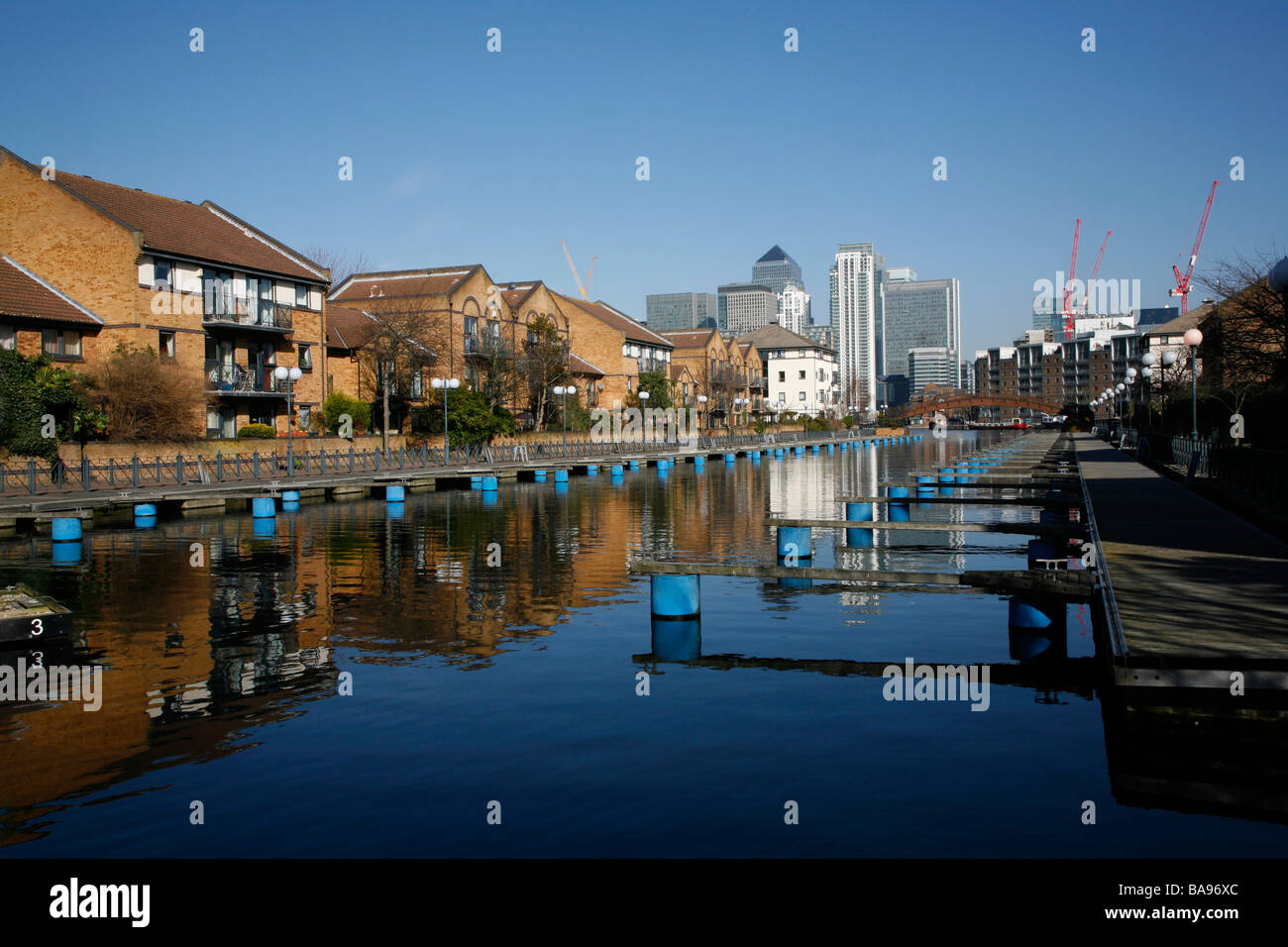 View of Canary Wharf from Millwall Outer Dock, Millwall, Isle of Dogs, London, UK - Stock Image