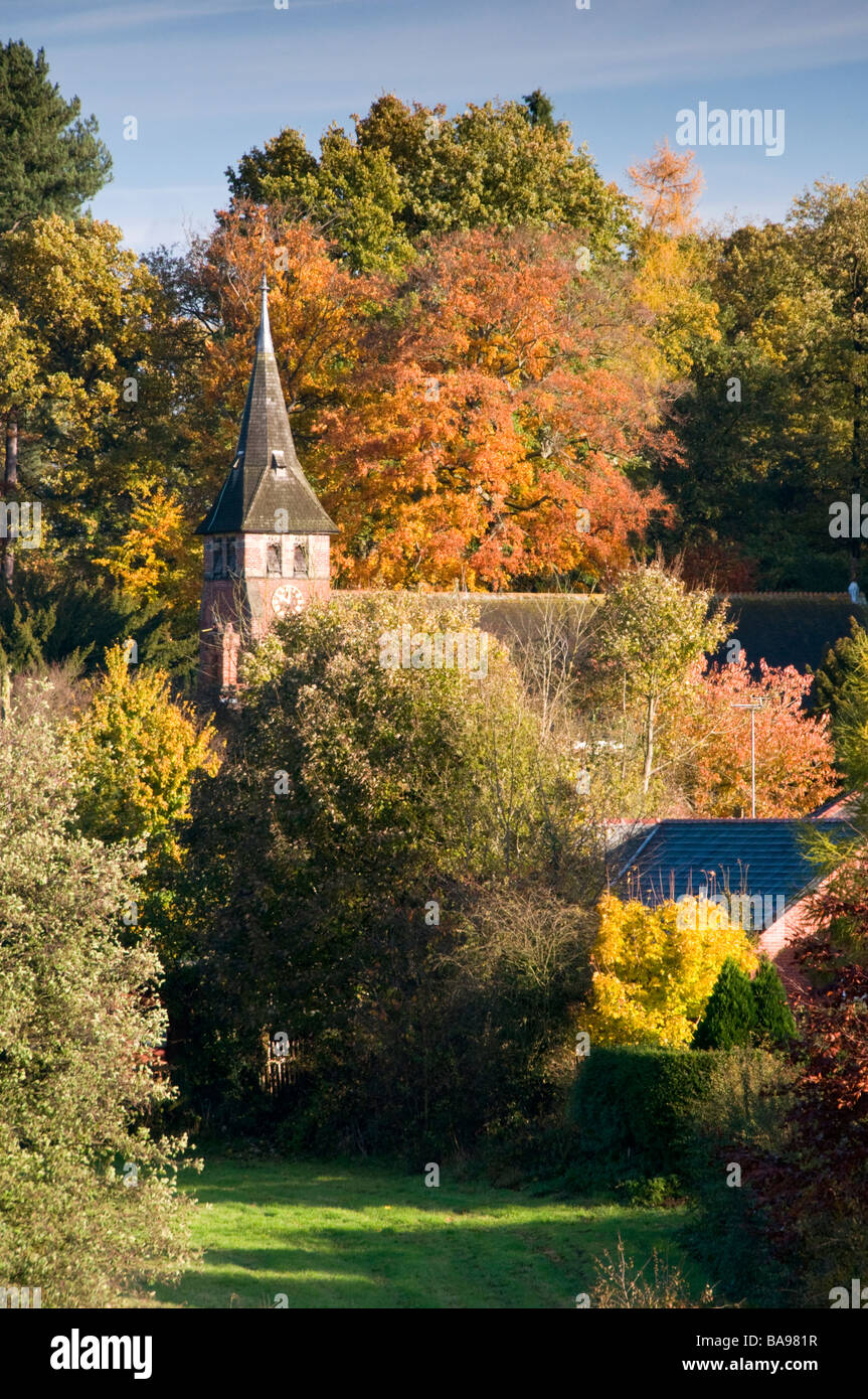 St Mary's Traditional English Church with Spire in Autumn, Village of Whitegate, Cheshire, England, UK - Stock Image