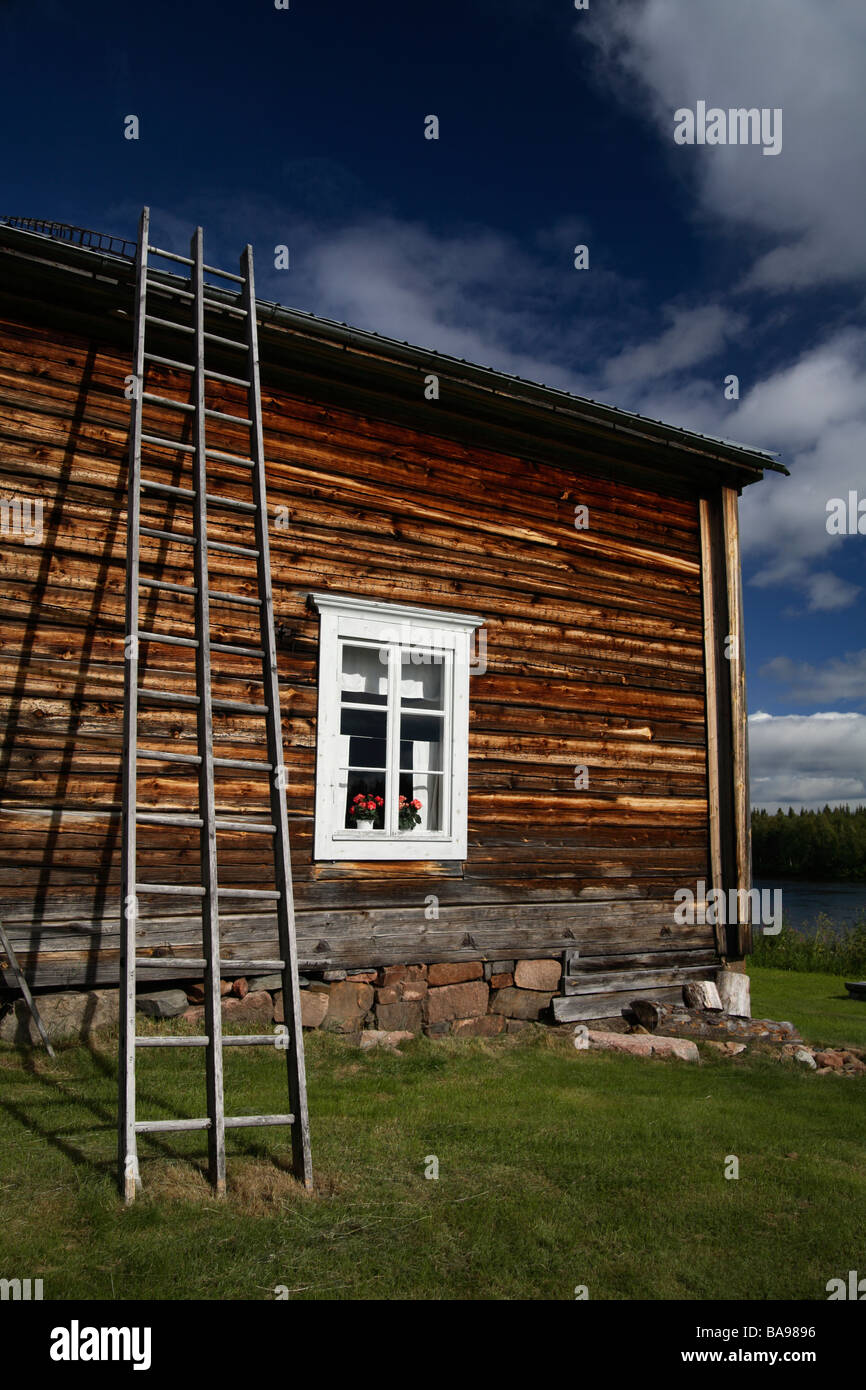 A log house Torne Valley - Stock Image