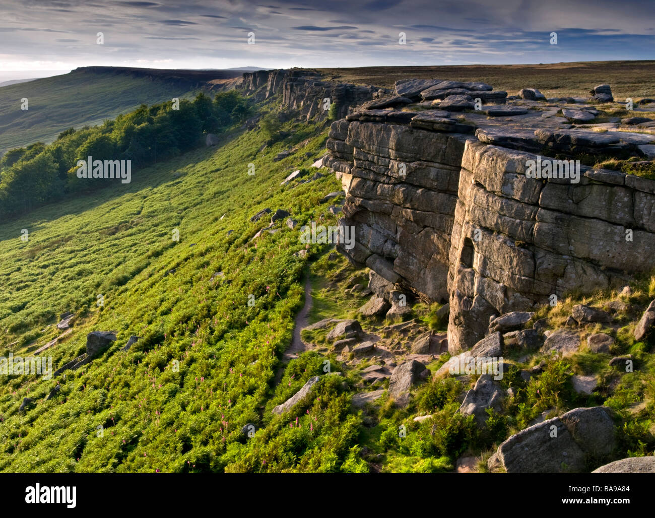 Evening Light on Stanage Edge, Peak District National Park, Derbyshire, England, UK - Stock Image
