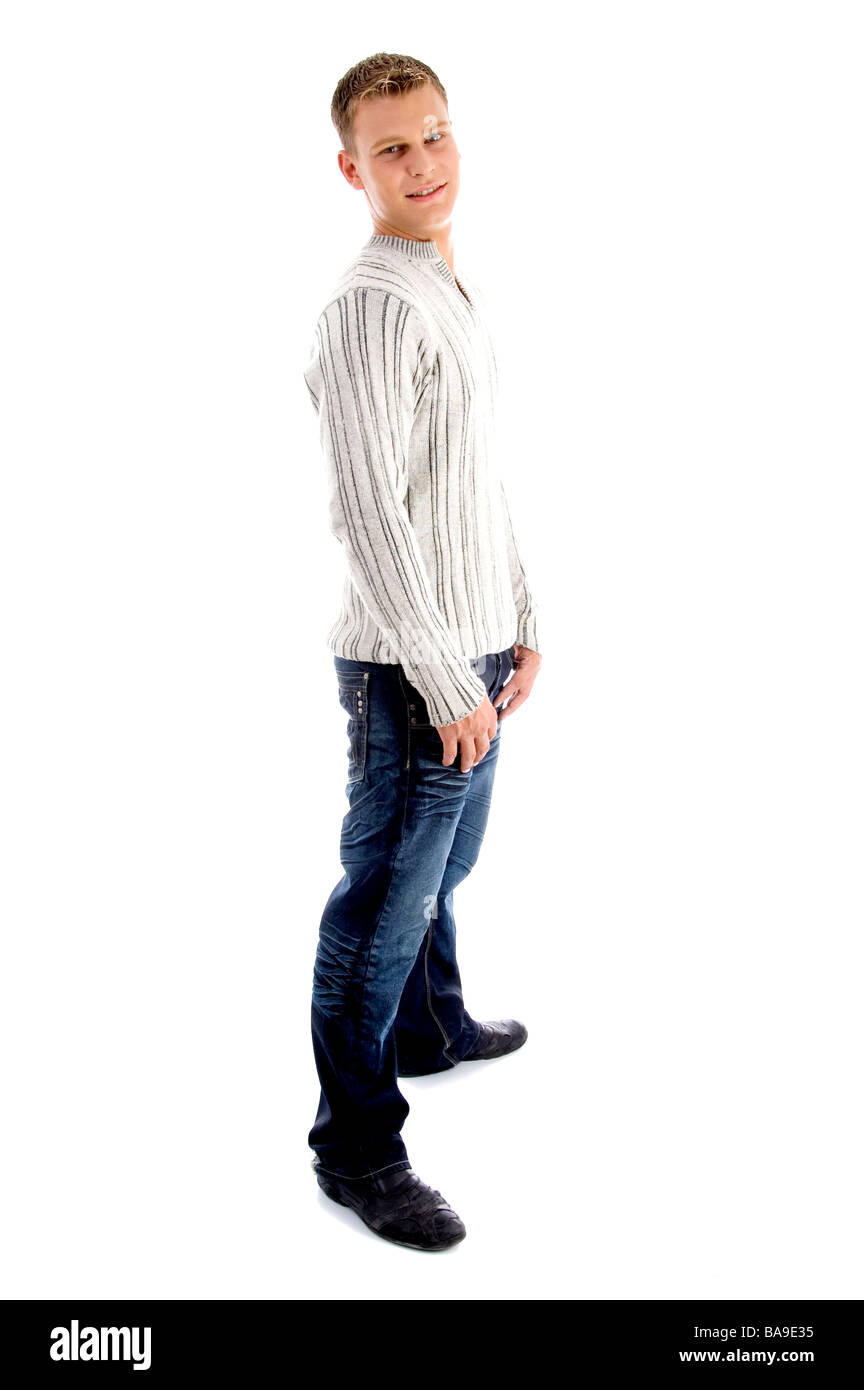 full body pose of male looking at camera - Stock Image