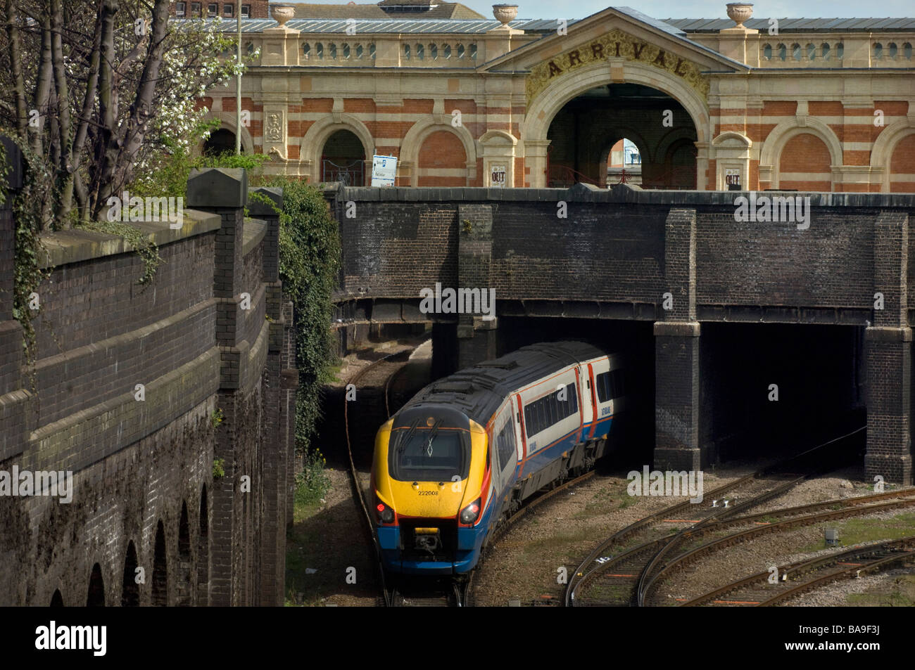 An East Midland Trains Midland Mainline Meridian Class 222 train arrives at Leicester Railway station. - Stock Image