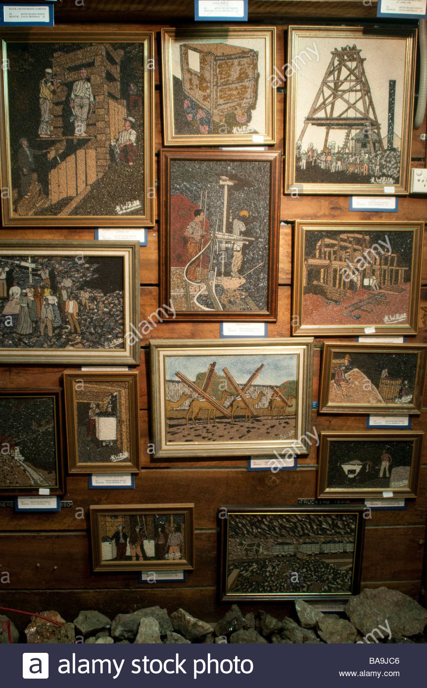 Minerals paintings in the White s Mineral Art and Mining Museum Broken Hill New South Wales Australia - Stock Image