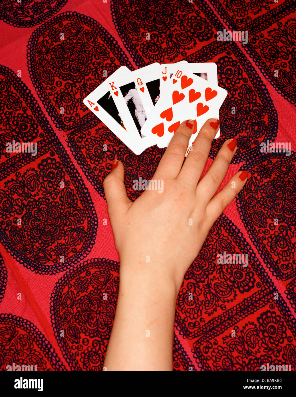 A straight flush. - Stock Image