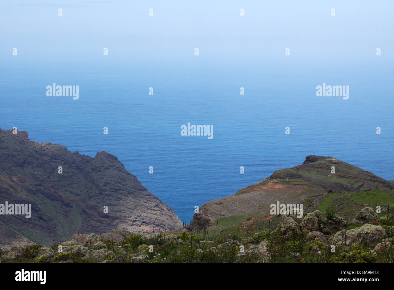 Sea view and canyons on La Gomera. This is Majona Natural Reserve. - Stock Image