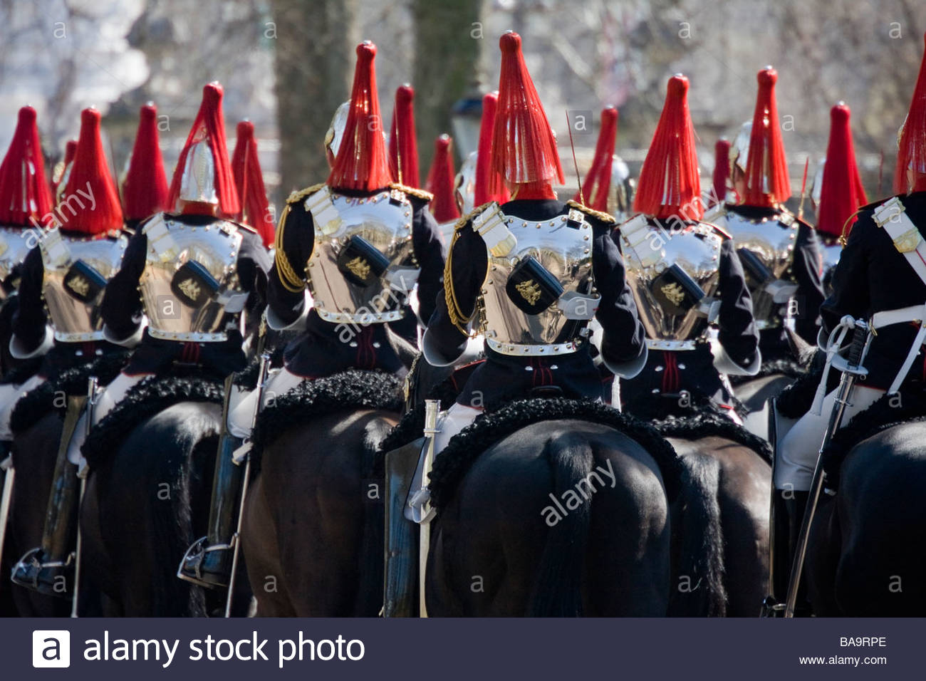 Horseguards riding to Horseguards Parade for the state visit of the Mexican president, London, UK - Stock Image