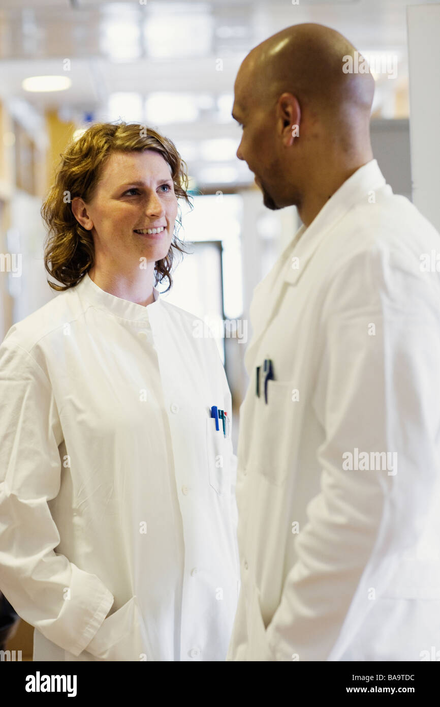 A man and a woman, doctors, in a hospital, Sweden. Stock Photo