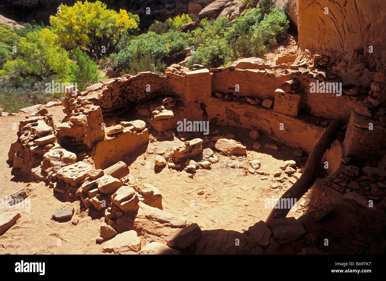 Pottery sherds corn cobs and grinding impressions in a kiva at Junction Ruin Grand Gulch Primitive Area Cedar Mesa Stock Photo