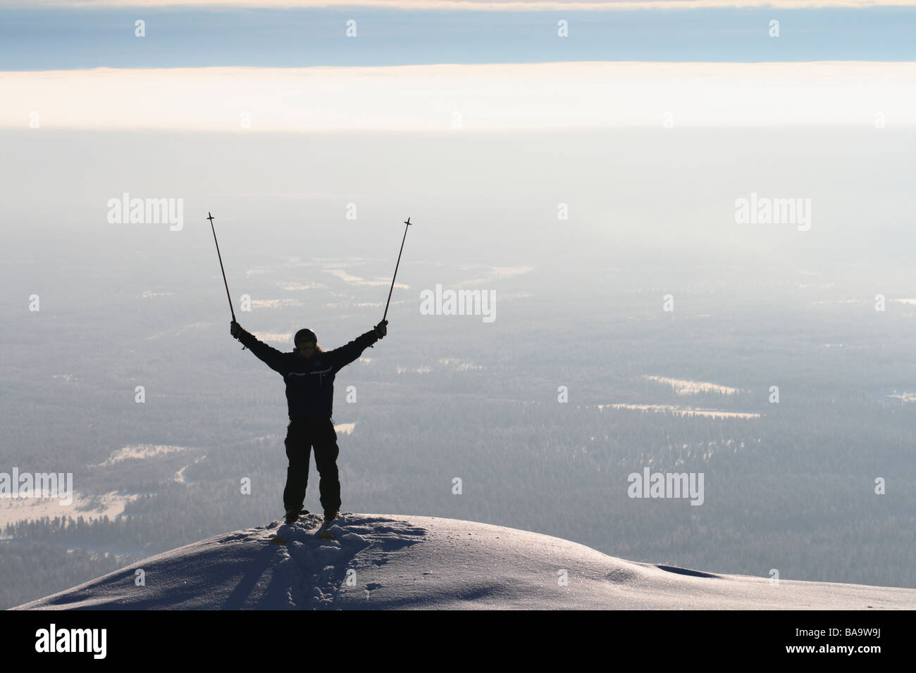 A skier with reached arms Sweden - Stock Image