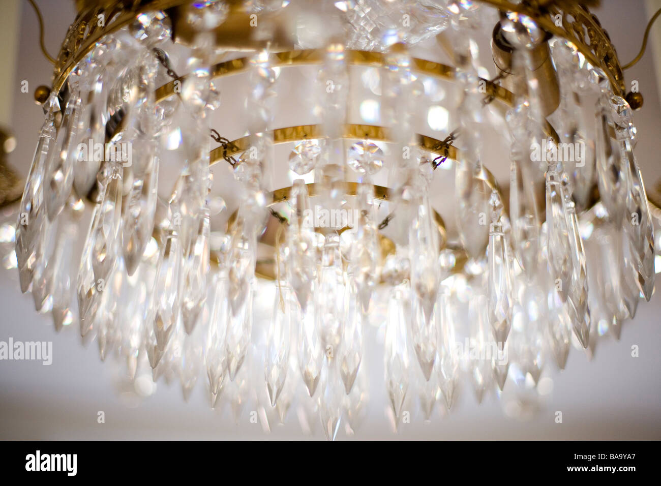 A cut glass chandelier sweden stock photo 23575951 alamy a cut glass chandelier sweden mozeypictures Images