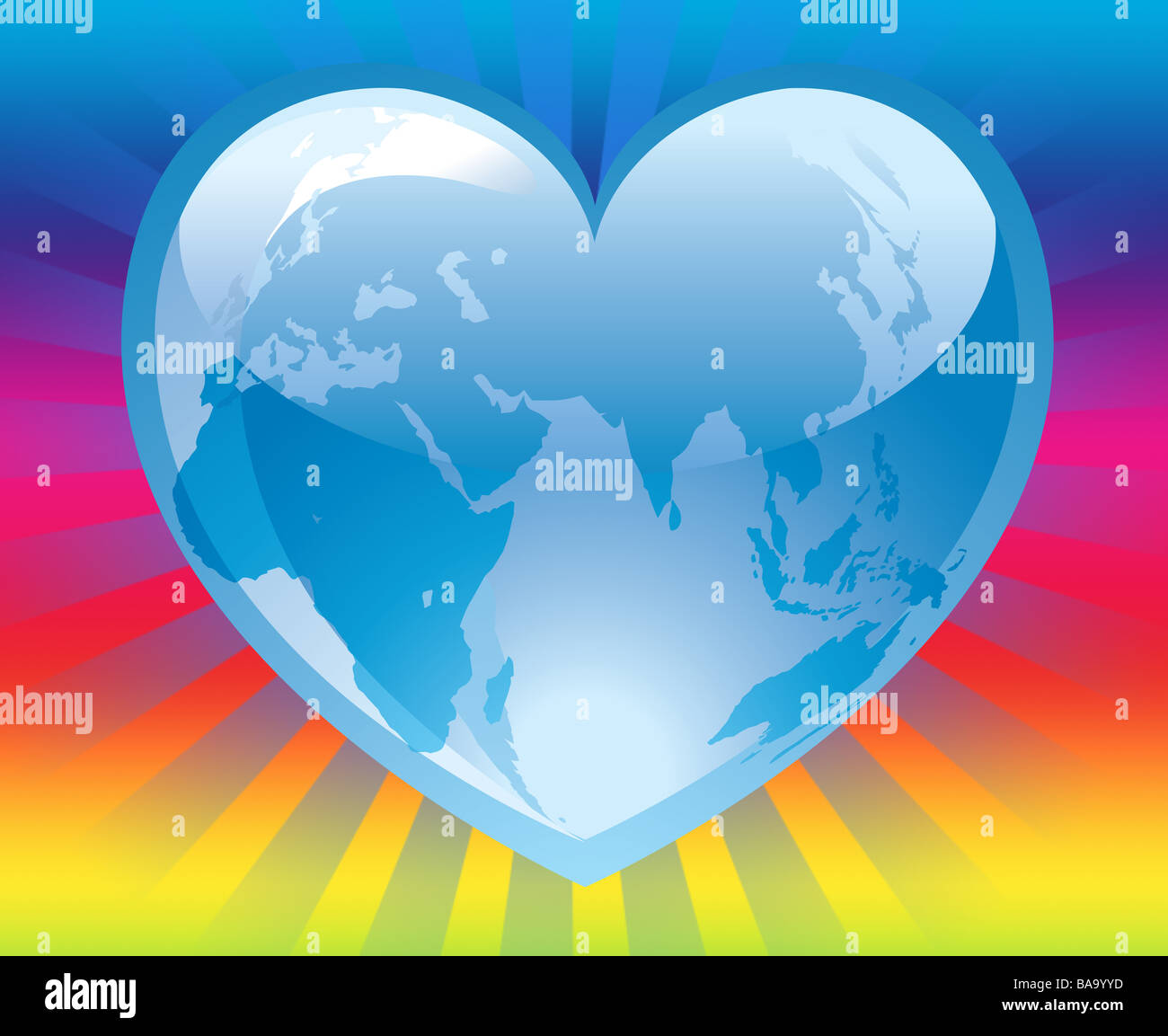Illustration of the world map inside a blue cool heart on colorful illustration of the world map inside a blue cool heart on colorful light rays background gumiabroncs Choice Image