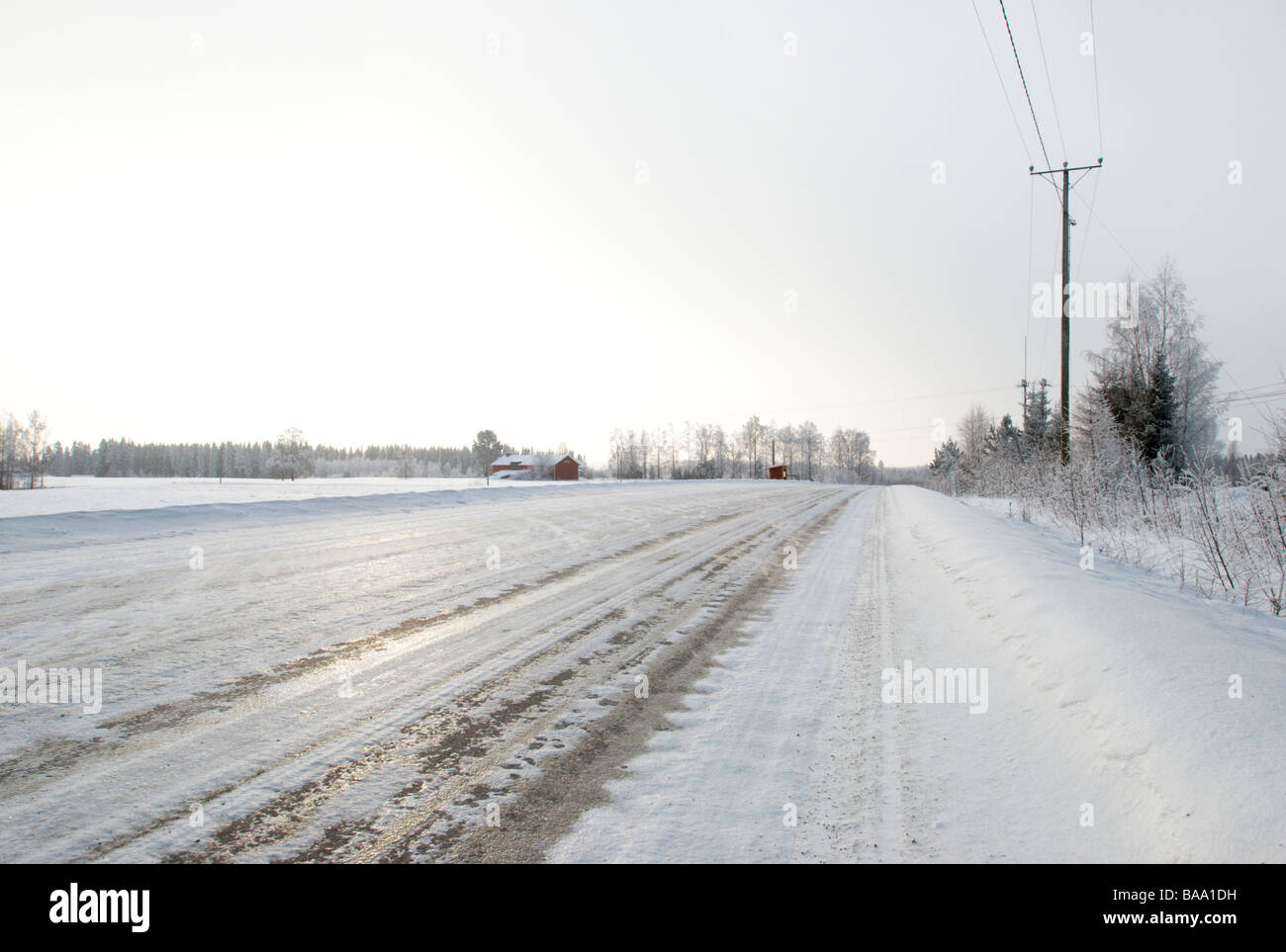 Wintery road, eastern Finland - Stock Image