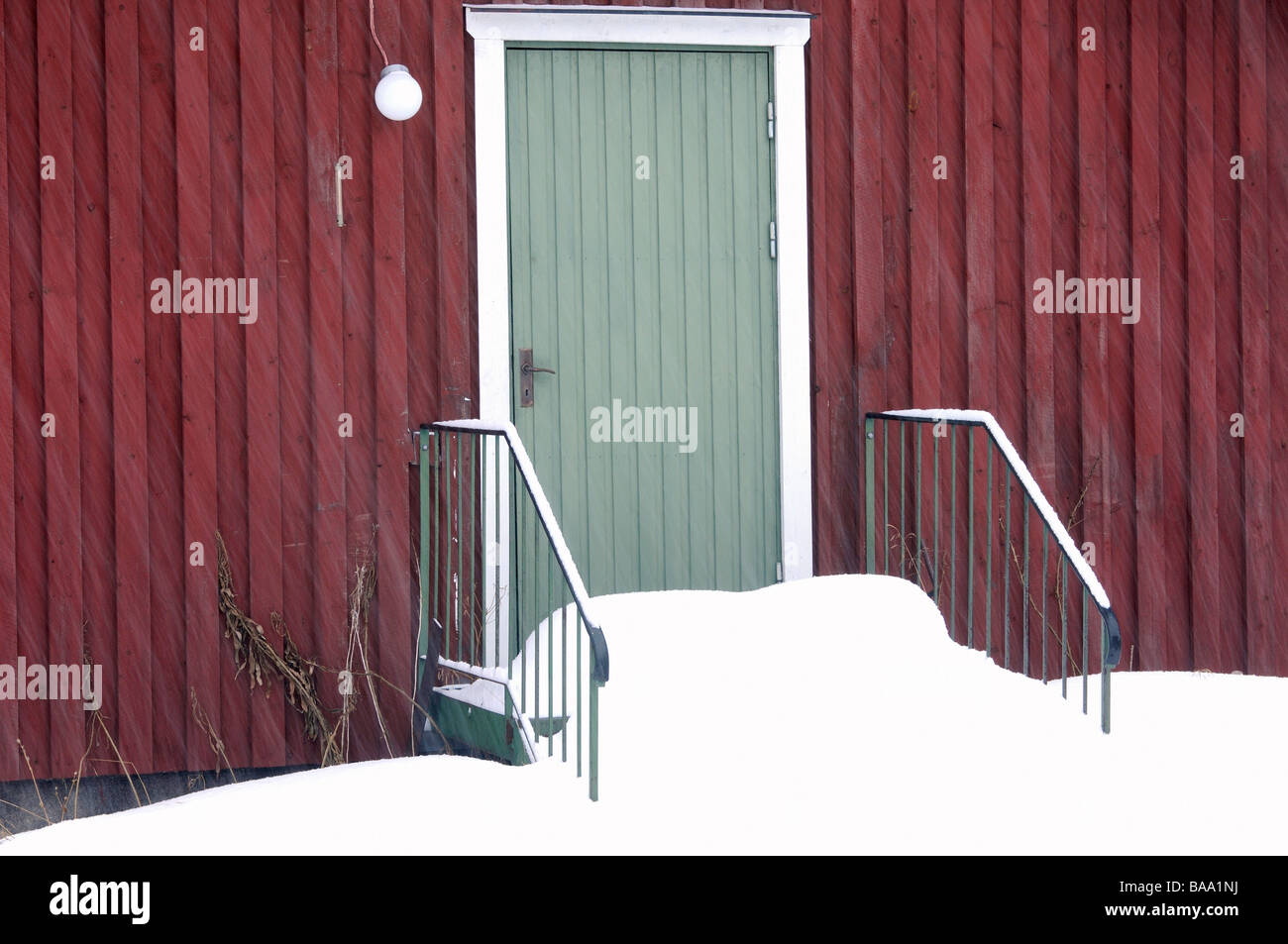 Steps covered with snow Dalarna Sweden - Stock Image