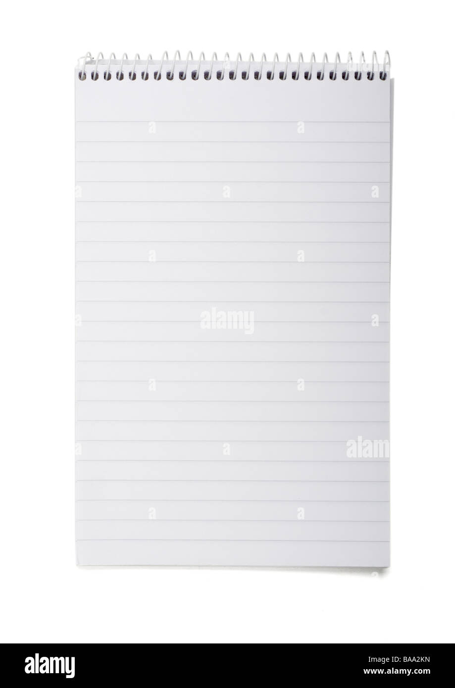 Spiral notepad on white background - Stock Image