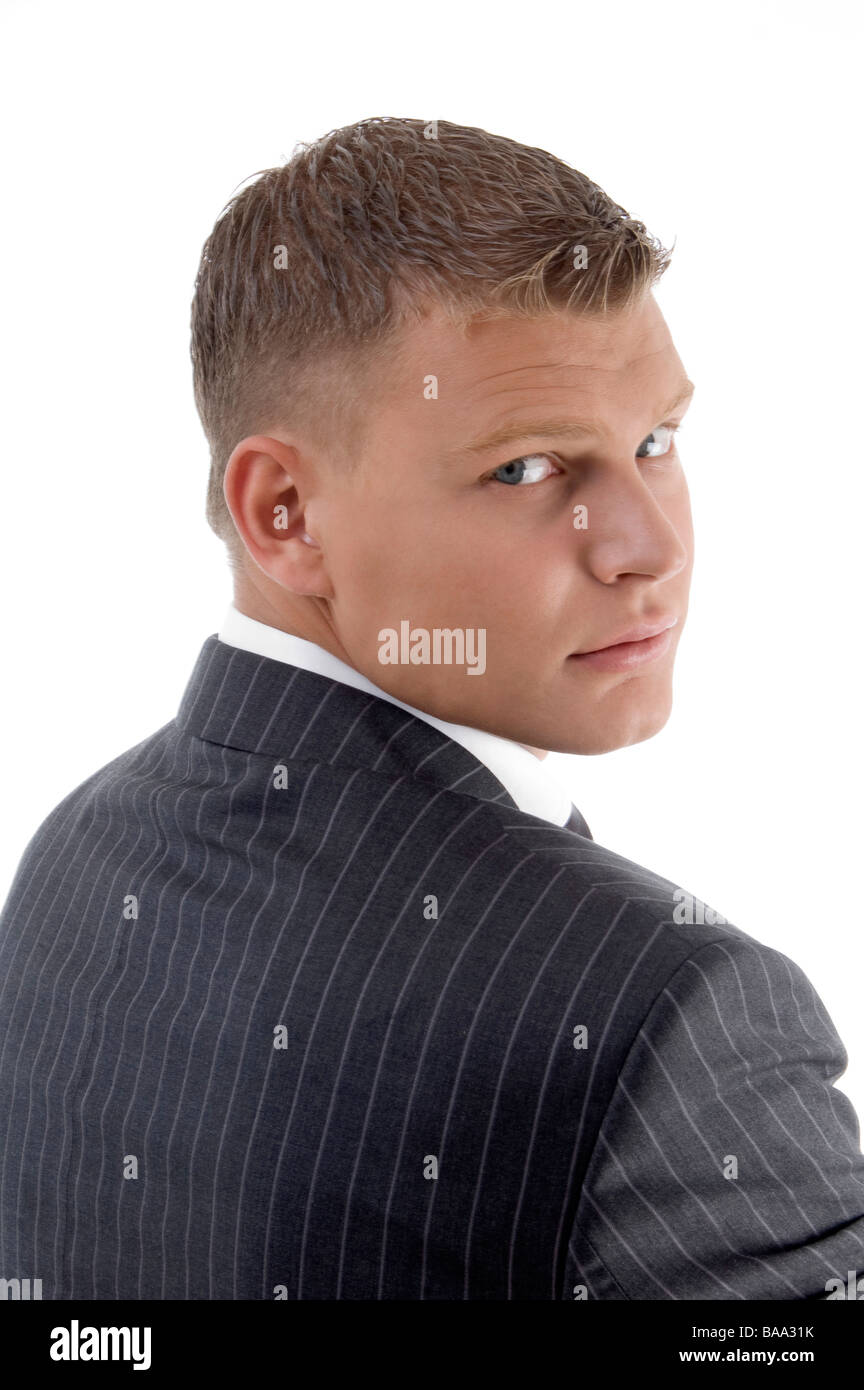 back pose of handsome lawyer - Stock Image