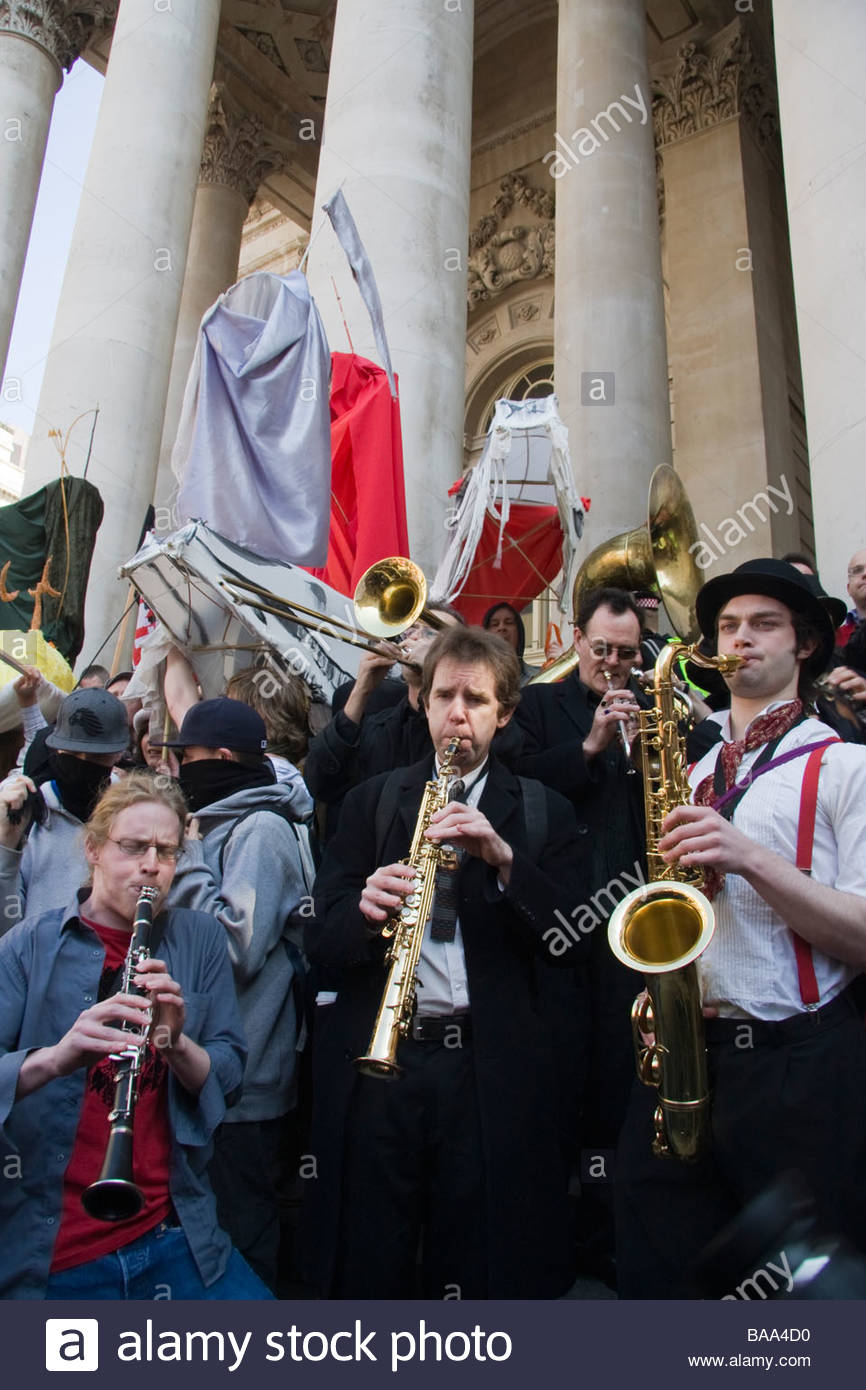 G20 Protest Rally outside the Bank of England in London - Stock Image