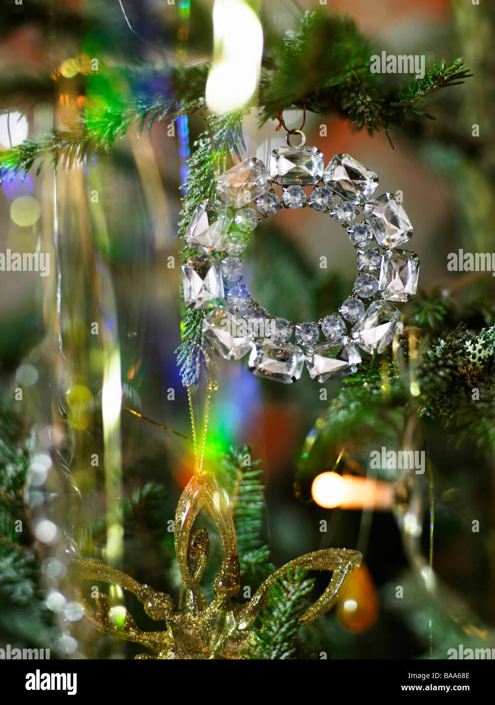 A decorated christmas tree, close-up. - Stock Image