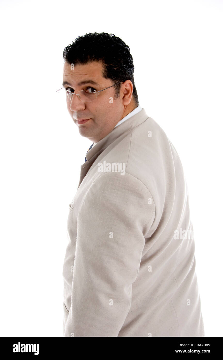back pose of businessman with eyewear - Stock Image