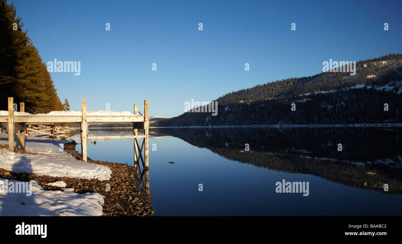 Donner Lake, wood jetty, Truckee, California - Stock Image