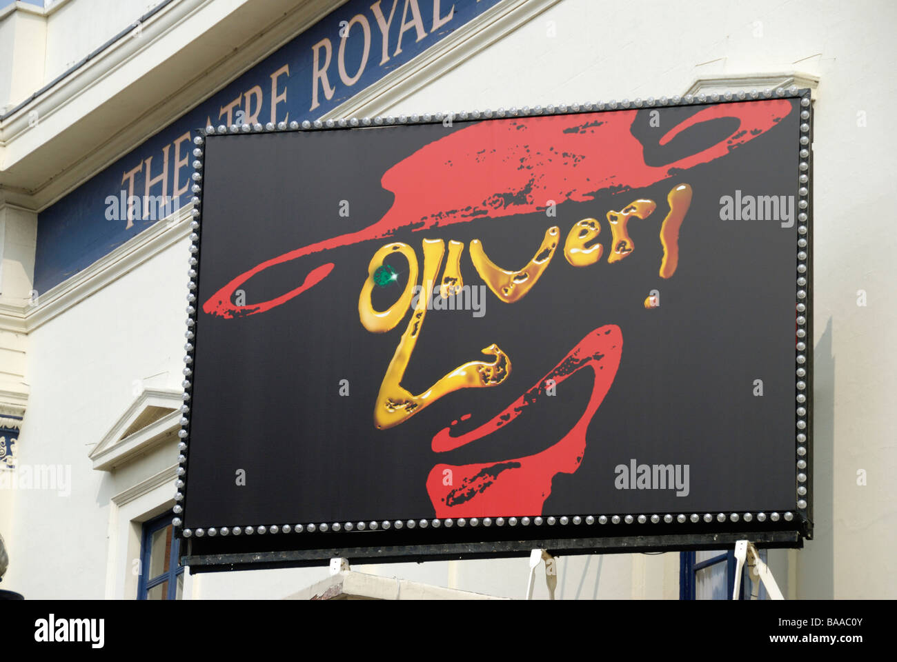 Giant billboard promoting the musical Oliver outside the Theatre Royal Drury Lane Covent Garden London England - Stock Image