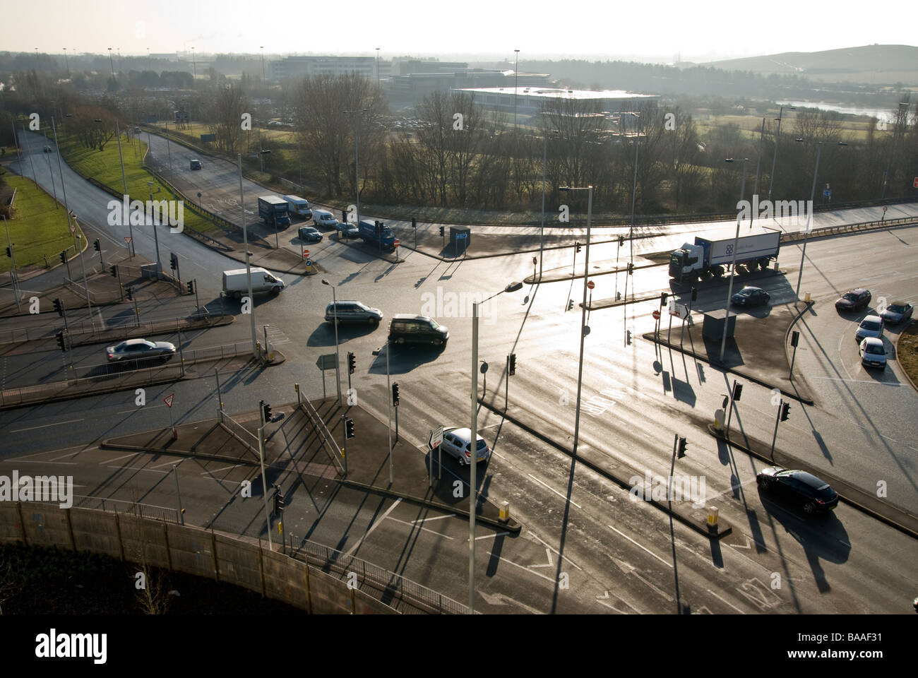 Traffic Junction intersection with traffic lights in Portsmouth - Stock Image