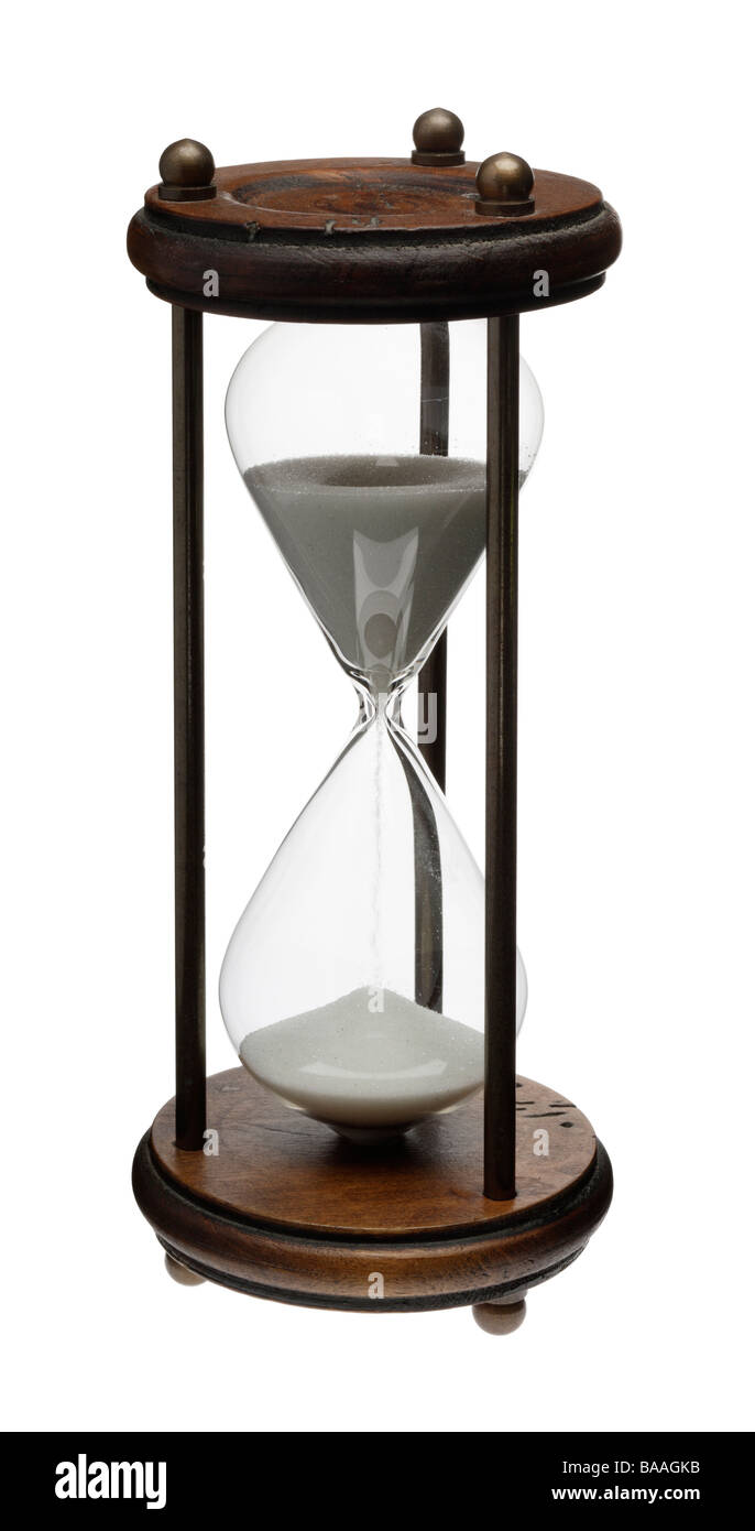 10 minute Hourglass or sandglass timer - Stock Image