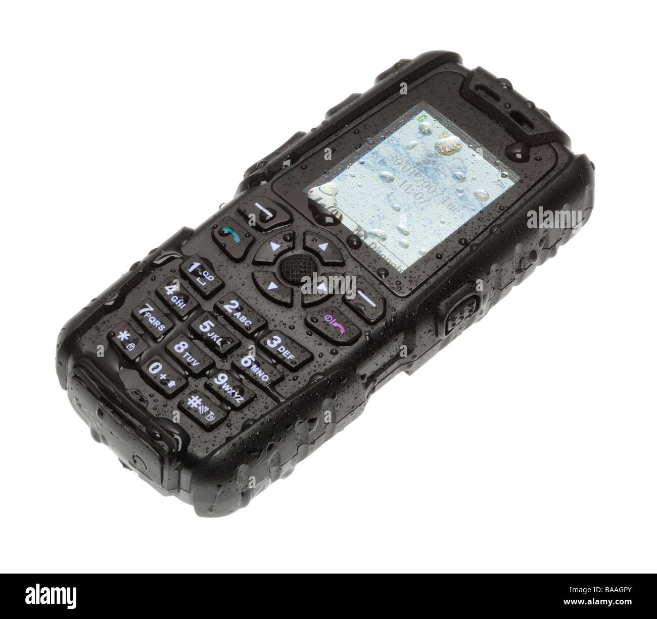 Wet waterproof mobile phone - Stock Image