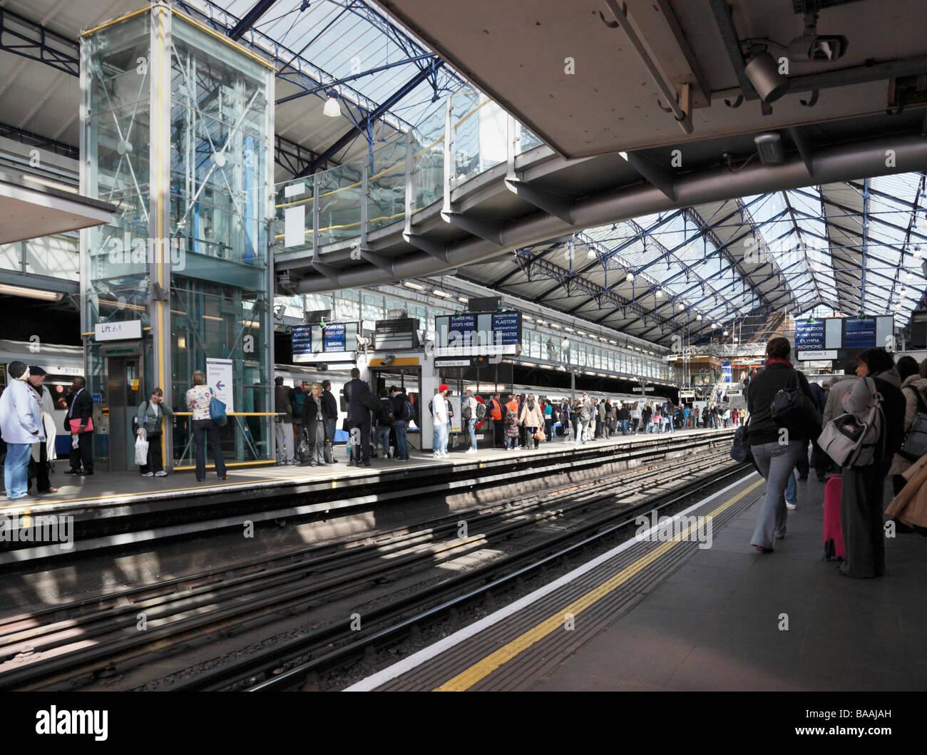 Inside Earls Court underground Station London England UK - Stock Image