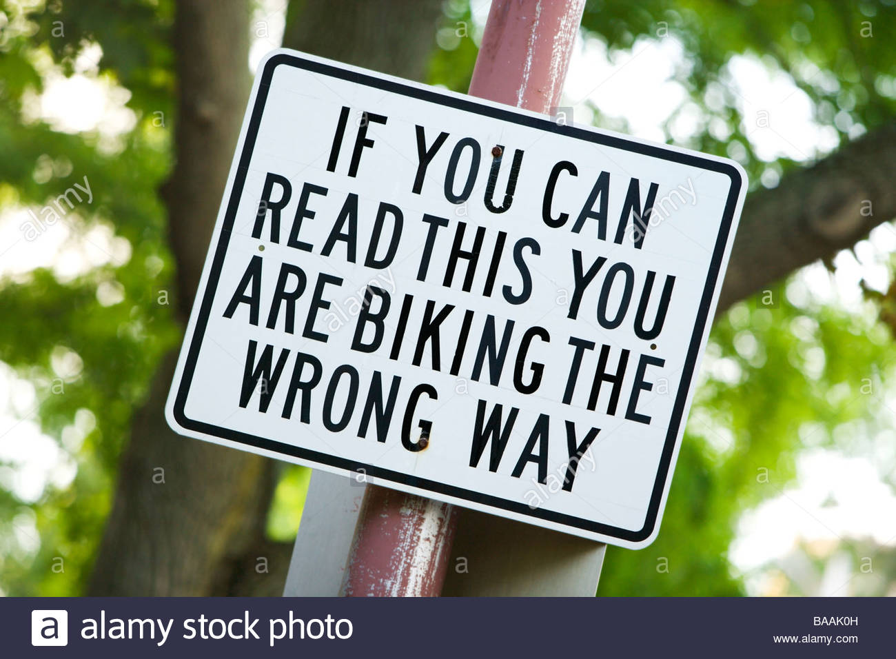 A street sign posted for cyclists warning them that they are riding the wrong way down the street in Boston, Massachusetts. - Stock Image