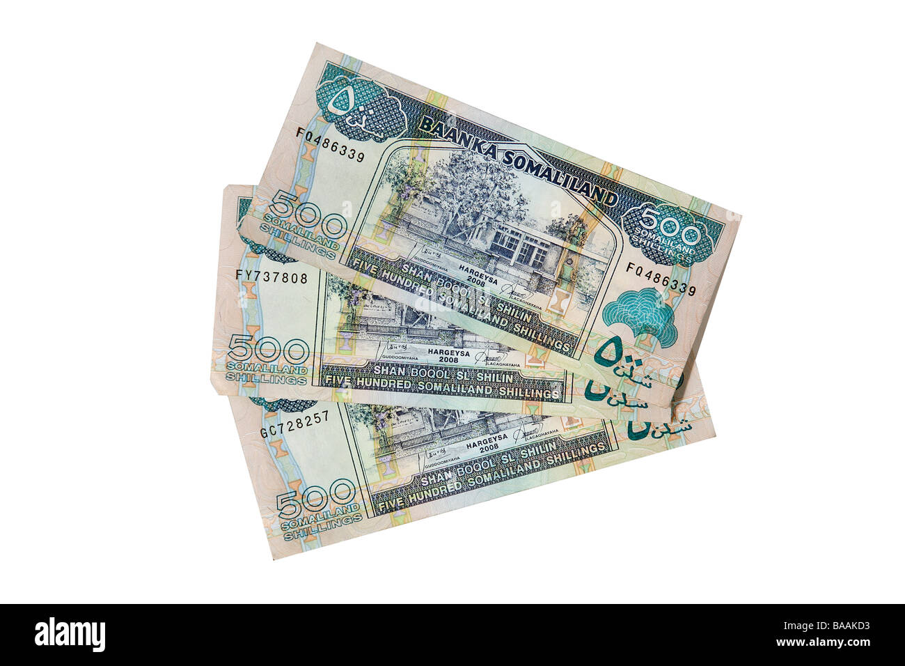 Somaliland 500 Shilling notes cut out on a white background - Stock Image