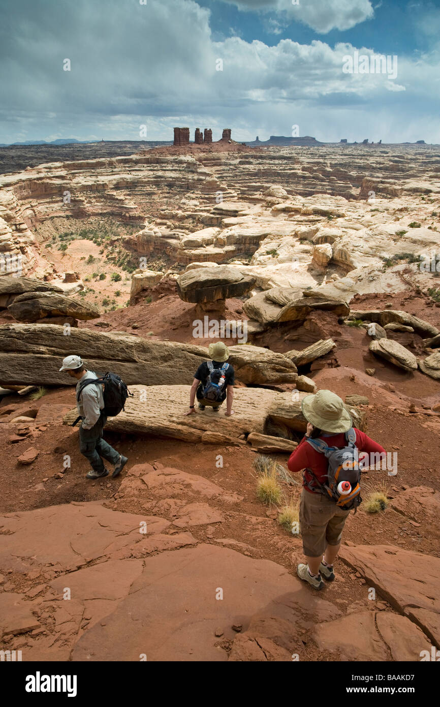 Hikers in Canyonlands National Park, Utah. - Stock Image