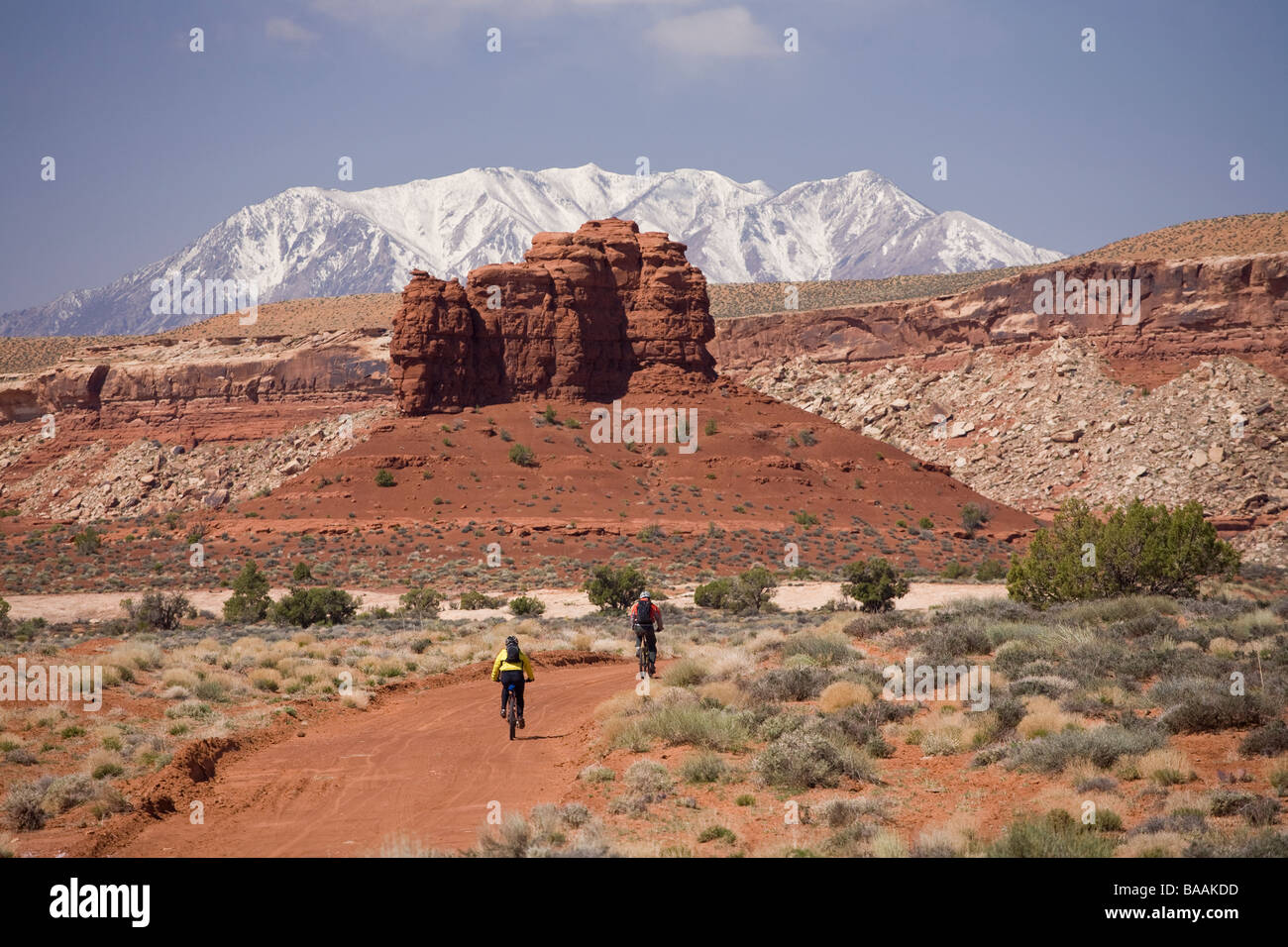 Mountain bikers on dirt road with desert scenery and snowy mountain in background near Hite, Utah. - Stock Image