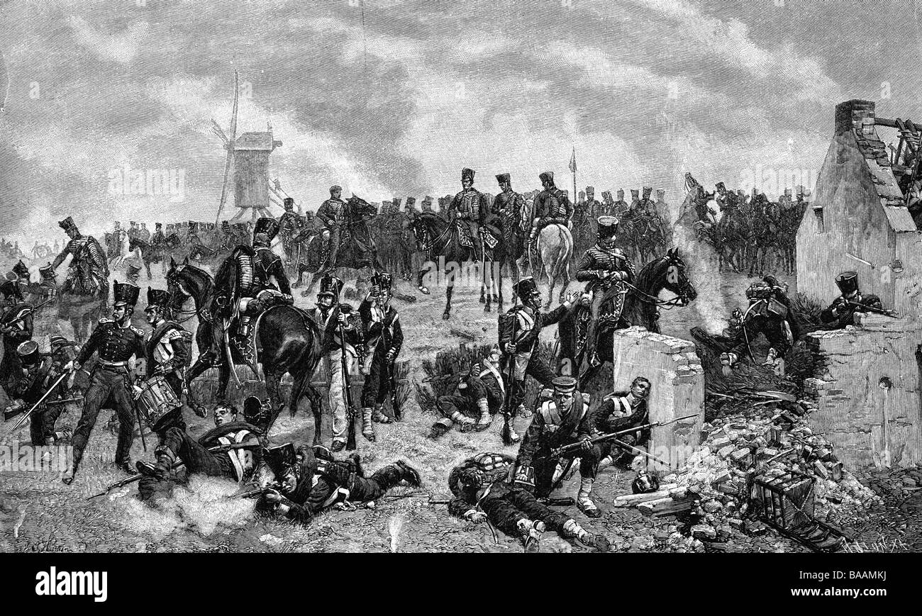 events, War of the Seventh Coalition 1815, Battle of Ligny, 16.6.1815, position of the Prussian 11th Hussars, wood - Stock Image